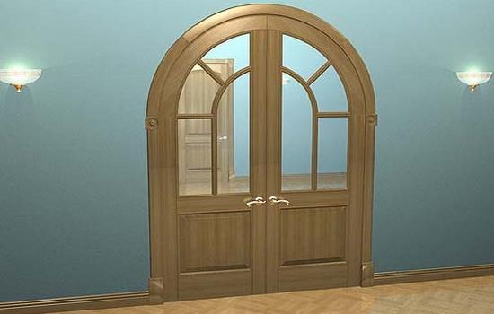 Арочная дверь со стеклянными вставками