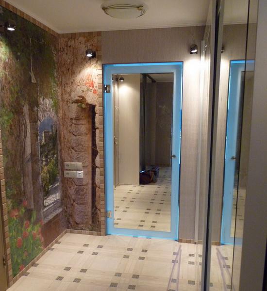 Дверь из стекла матового триплекс ТрМ с наклеенным зеркалом вид из коридора