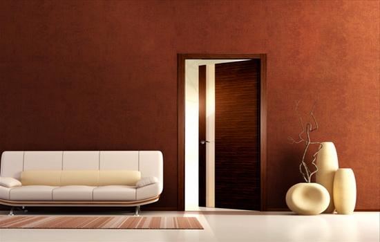 Дверь-невидимка из древесины ореха