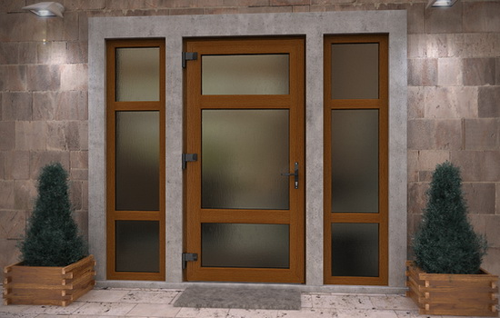 Дверная сиситема со стеклопакетом с матовым стеклом