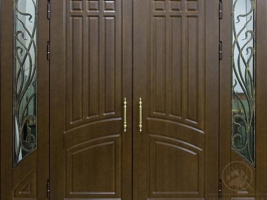 Двуполые двери из дерева на входе в дом
