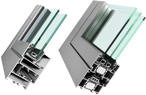 Холодный алюминиевый профиль (слева) и теплый (справа)