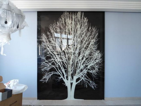 Изображение на стекле двери