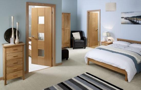 Ламинированные межкомнатные двери в интерьере спальни