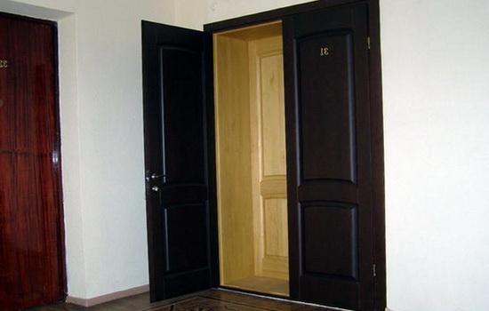 Пример двойной входной двери - внешняя железная, внутренняя - деревянная