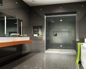 Распашная дверь в нише ванной комнаты