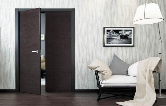 Распашные двери темного цвета в белом интерьере гостиной
