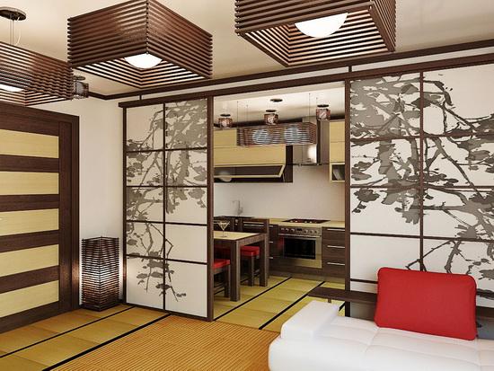 Раздвижные двери в японском стиле на кухню