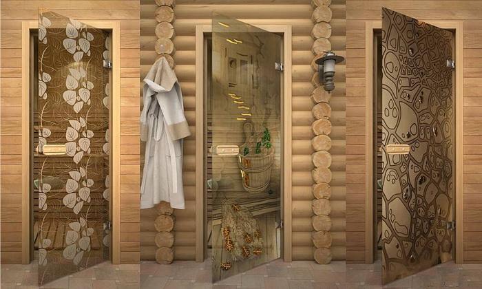 Стеклянные двери в баню