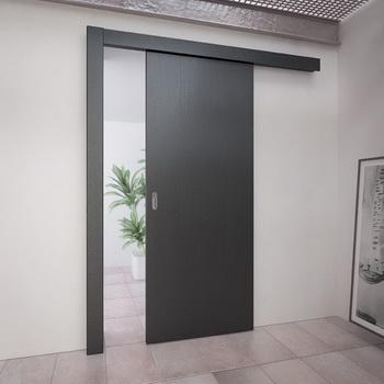 Строгая откатная дверь серого цвета
