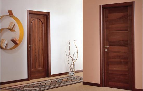 Темно-коричневые двери из натурального шпона