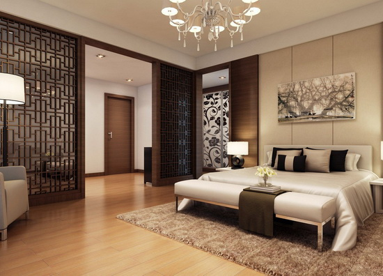dark-wood-floor-bedroom-different-decor-on-bed-design-ideas.